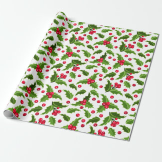 Vintage Christmas Red & Green Holly Wrapping Paper