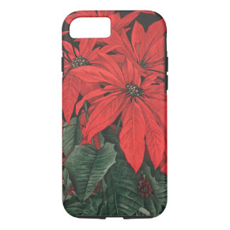 Vintage Christmas Red Poinsettia Plants Flowers iPhone 7 Case