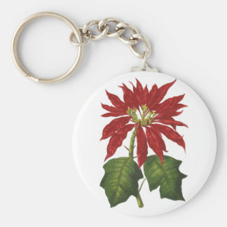 Vintage Christmas, Red Poinsettia Winter Plant Basic Round Button Key Ring