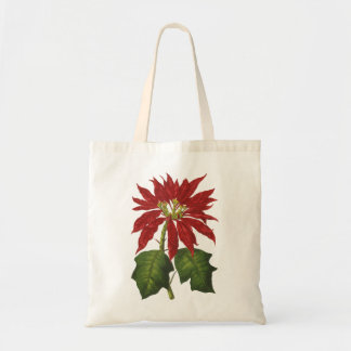 Vintage Christmas, Red Poinsettia Winter Plant Budget Tote Bag