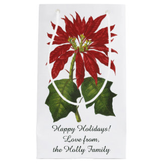 Vintage Christmas, Red Poinsettia Winter Plant Small Gift Bag