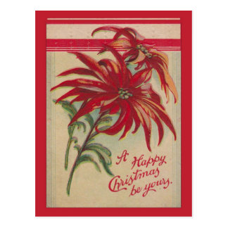 Vintage Christmas,  Red Poinsettias and greetings Postcards
