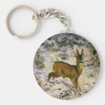 Vintage Christmas Reindeer in Winter Forst Snow Basic Round Button Key Ring