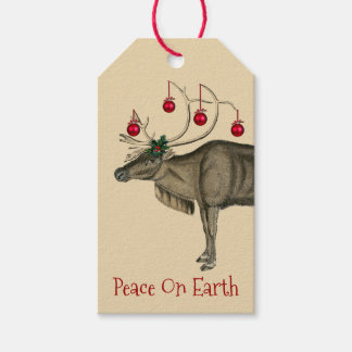 Vintage Christmas Reindeer Peace On Earth Gift Tags