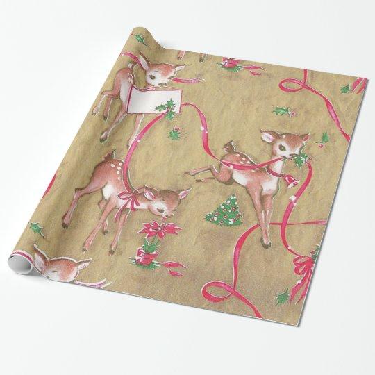 Vintage, Christmas, Reindeer, Rustic Wrapping Paper