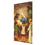 Vintage Christmas, Religious Nativity w Baby Jesus Canvas Print