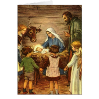 Vintage Christmas, Religious Nativity w Baby Jesus Card
