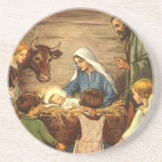 Vintage Christmas, Religious Nativity w Baby Jesus Coaster