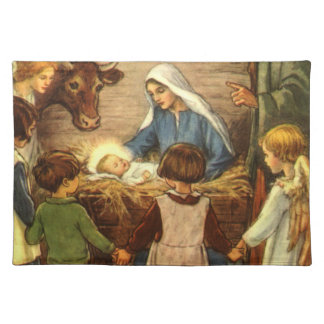 Vintage Christmas, Religious Nativity w Baby Jesus Placemat