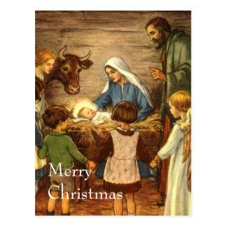 Vintage Christmas, Religious Nativity w Baby Jesus Postcard