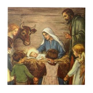 Vintage Christmas, Religious Nativity w Baby Jesus Small Square Tile