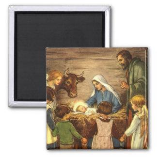 Vintage Christmas, Religious Nativity w Baby Jesus Square Magnet