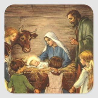 Vintage Christmas, Religious Nativity w Baby Jesus Square Sticker