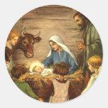 Vintage Christmas, Religious Nativity w Baby Jesus Round Sticker