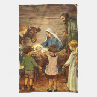 Vintage Christmas, Religious Nativity w Baby Jesus Tea Towel