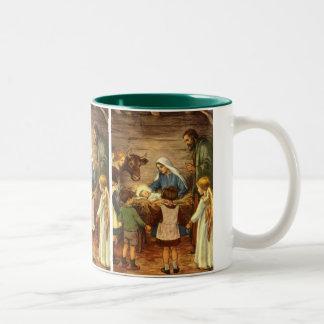 Vintage Christmas, Religious Nativity w Baby Jesus Two-Tone Coffee Mug