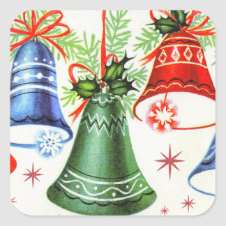 Vintage Christmas retro bells Holiday stickers