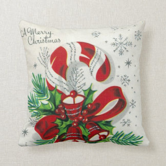 Vintage Christmas retro candy cane decor pillow
