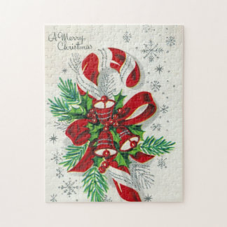 Vintage Christmas retro candy cane puzzle
