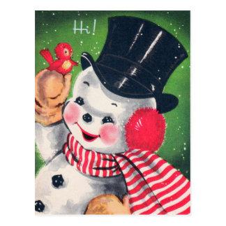Vintage Christmas retro snowman Holiday postcard