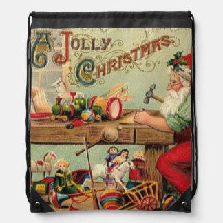 Vintage Christmas Retro Xmas Personalized Drawstring Backpack