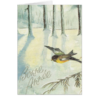 Vintage Christmas  Robin in the wood Greeting Card
