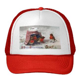 Vintage Christmas Robins Under Flowerpot Cap