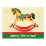 Vintage Christmas Rocking Horse Postcard