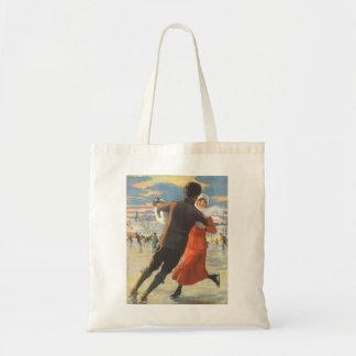Vintage Christmas, Romantic Couple Ice Skating Budget Tote Bag