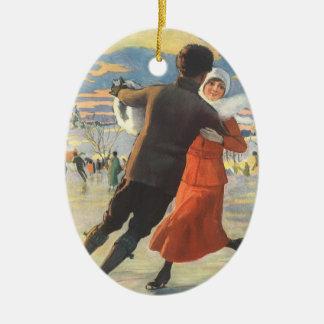 Vintage Christmas, Romantic Couple Ice Skating Christmas Ornament