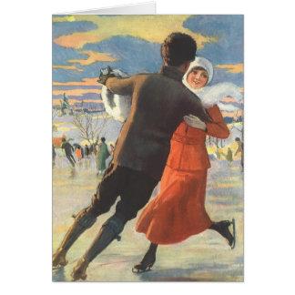 Vintage Christmas, Romantic Couple Ice Skating Greeting Card