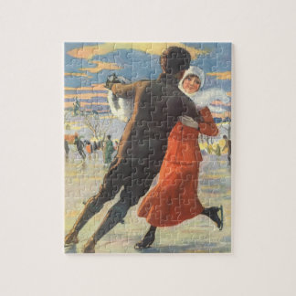 Vintage Christmas, Romantic Couple Ice Skating Jigsaw Puzzle