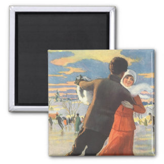 Vintage Christmas, Romantic Couple Ice Skating Square Magnet