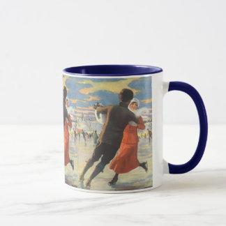 Vintage Christmas, Romantic Couple Ice Skating Mug