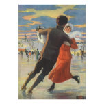 Vintage Christmas, Romantic Couple Ice Skating Poster