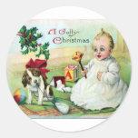 Vintage Christmas Round Sticker