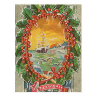 Vintage Christmas Sailboat Wreath Postcard