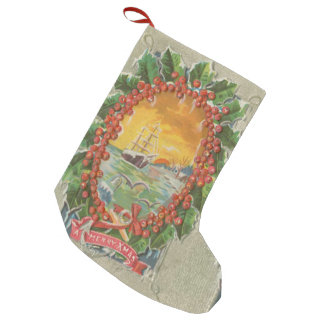 Vintage Christmas Sailboat Wreath Small Christmas Stocking
