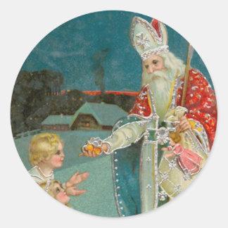 Vintage Christmas Saint Nicholas Fine Art Round Sticker