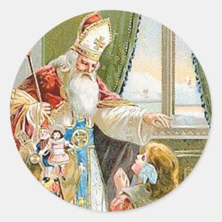Vintage Christmas Saint Nicholas Round Sticker