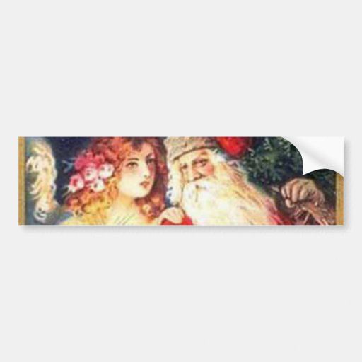 Vintage Christmas Santa and Angel Bumper Stickers