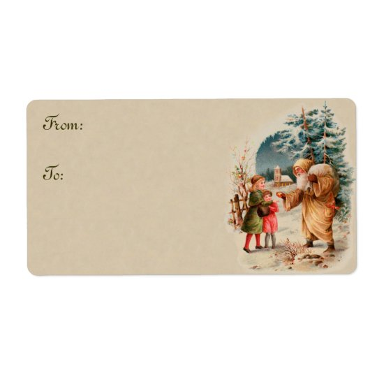Vintage Christmas Santa and Children Gift Tags Shipping Label