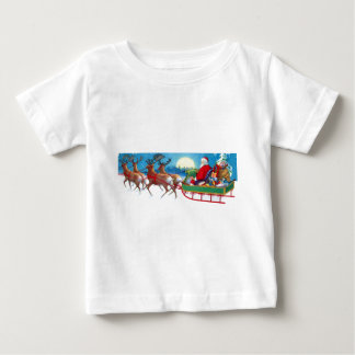 Vintage Christmas Santa and Reindeer Sleigh Baby T-Shirt