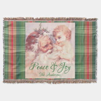 Vintage Christmas Santa Angel Peace Joy Blanket