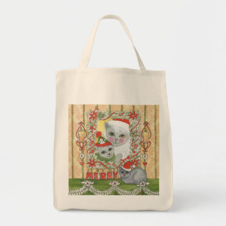 Vintage Christmas Santa Cat with Kitten Grocery Tote Bag