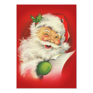 Vintage Christmas Santa Claus 13 Cm X 18 Cm Invitation Card