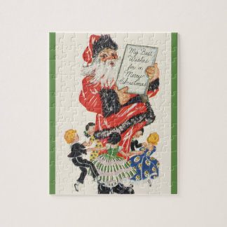Vintage Christmas Santa Claus and Children Dance Jigsaw Puzzle