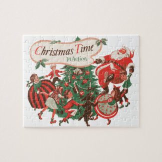 Vintage Christmas Santa Claus and Dancing Children Jigsaw Puzzle
