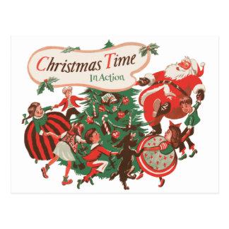 Vintage Christmas Santa Claus and Dancing Children Postcard