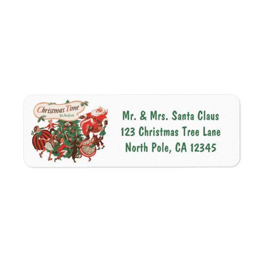 Vintage Christmas Santa Claus and Dancing Children Return Address Label